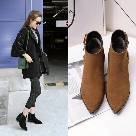 秋冬季新品流苏短靴套脚平底粗跟及裸靴时尚欧美真皮女鞋
