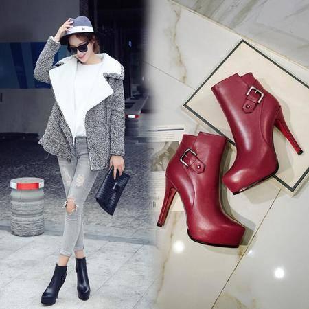 女鞋爆款内防水台细跟皮带扣短靴超高跟鞋秋冬新款真皮时尚女靴