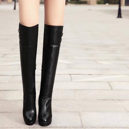 新款真皮女靴爆款头层牛皮性感粗跟防水台高跟弹力过膝靴罗马靴