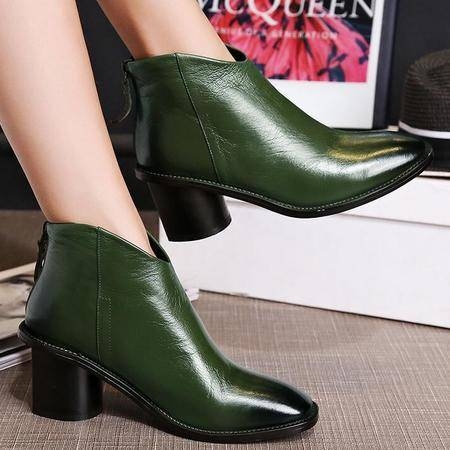 欧美大牌同款时尚女鞋秋季新款真皮短靴方头粗跟擦色短筒靴女靴