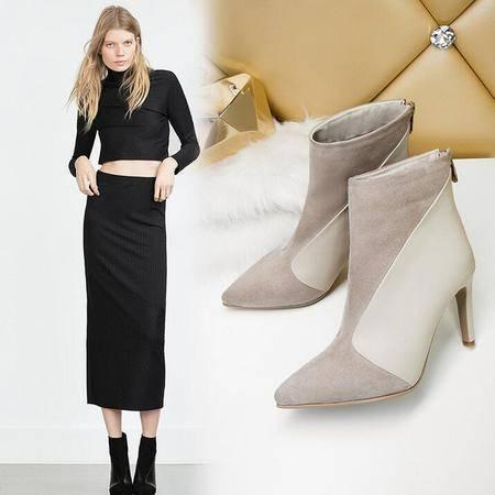 2016秋冬新款尖头细高跟真皮短靴气质百搭裸靴