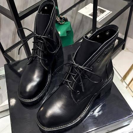 潮流爆款切尔西真皮粗跟短靴英伦圆头平底马丁靴系带骑士靴女靴