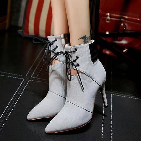 2016新款细跟高跟短筒靴尖头侧拉链时尚欧美真皮女靴马丁靴