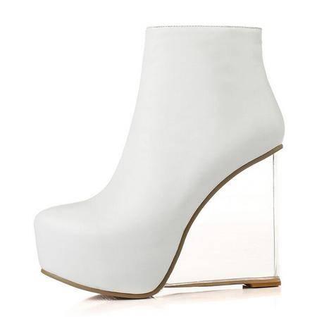 秋季欧美大牌走秀圆头内防水台透明真皮高跟短靴时尚性感坡跟女靴