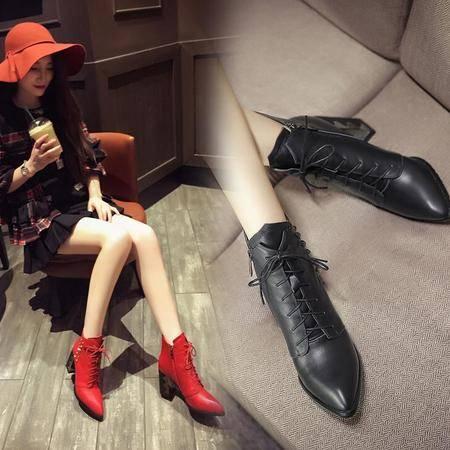 2016新款短靴头层牛皮靴子铆钉系带尖头真皮女靴子大小码短靴