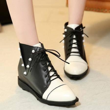 韩版潮流真皮系带女鞋铆钉拼色平底深口高帮鞋学院风休闲马丁靴