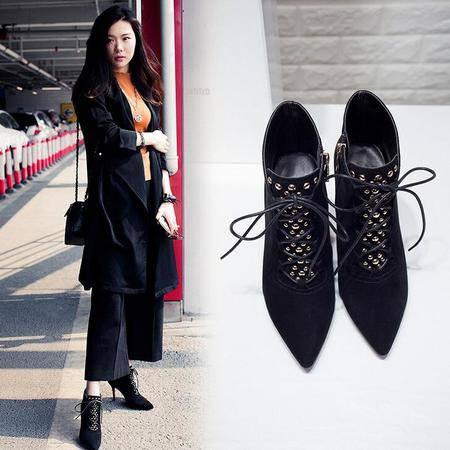 真皮深口女单鞋16年春秋季新款韩版性感女鞋系带铆钉尖头高跟鞋