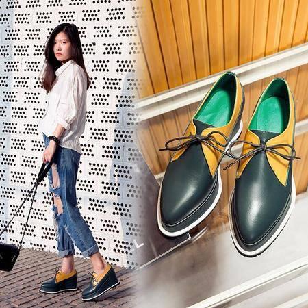2016女鞋拼色系带尖头松糕厚底坡跟单鞋女高帮鞋