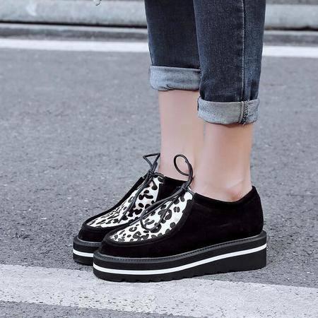 2016新款秋冬季欧美风厚底坡跟圆头女单鞋豹纹系带松糕跟学生鞋