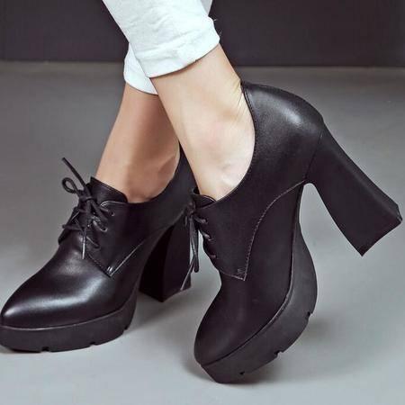 韩版系带超高跟鞋粗跟厚底单鞋真皮防水台深口女鞋皮鞋