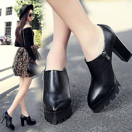 新款粗跟深口女单鞋韩版简约OL职业工作鞋真皮女鞋罐罐鞋