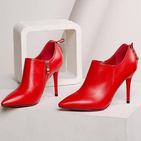 女鞋红色婚鞋深口单鞋蝴蝶结新娘鞋尖头真皮女鞋超高跟鞋