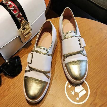 真皮休闲鞋拼色女鞋乐福鞋厚底松糕跟单鞋内增高运动鞋