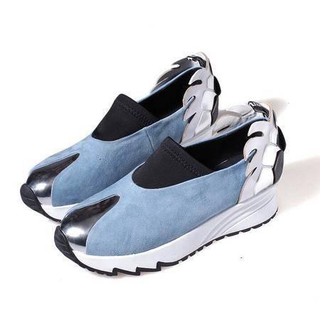 欧美羊反皮圆头深口内增高女单鞋拼色厚底运动鞋真皮乐福鞋女鞋