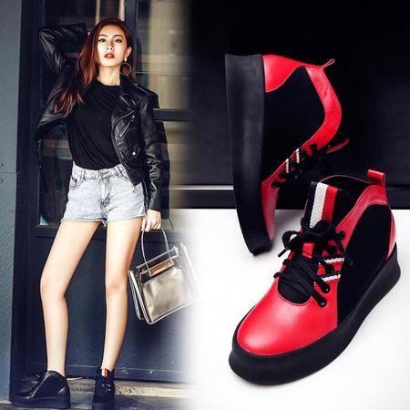 秋季新款真皮内增高女鞋厚底松糕鞋系带深口拼色单鞋女