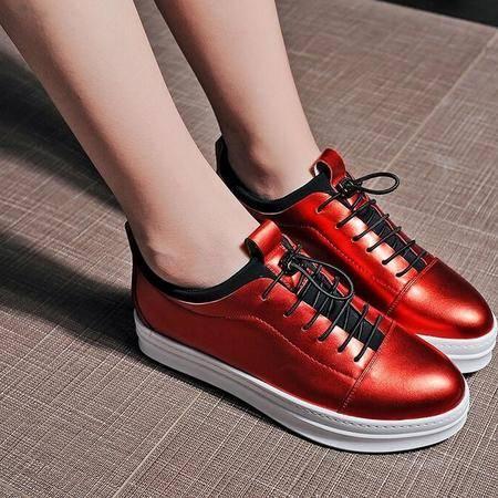 16年秋季新款真皮内增高女鞋厚底松糕鞋系带深口坡跟鞋简约学生鞋