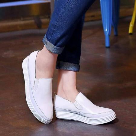 真皮厚底坡跟小白鞋深口英伦风套脚尖头单鞋女休闲运动鞋子潮