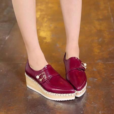 英伦时尚尖头草编松糕低坡跟女鞋尖头串珠厚底内增高真皮深口单鞋