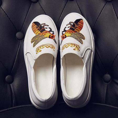 真皮乐福鞋韩版秋季新款女鞋一脚蹬圆头小蜜蜂浅口厚底学生鞋