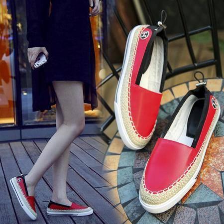 欧美麻绳草编厚底休闲鞋女单鞋真皮拼色松糕底编织平底鞋学生鞋