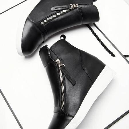 韩版新款真皮深口女靴子厚底松糕跟休闲鞋内增高坡跟女鞋