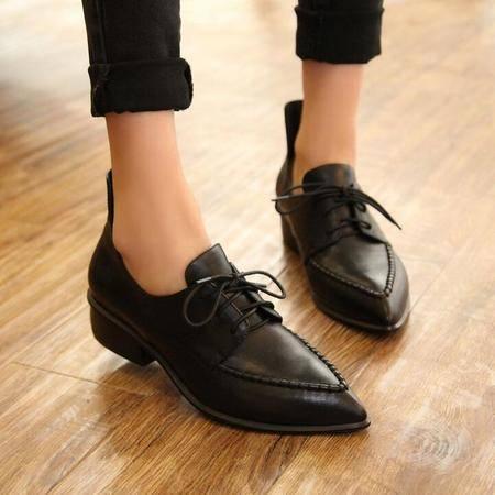真皮女鞋2016秋季新款韩版内增高尖头深口平底女单鞋系带中跟