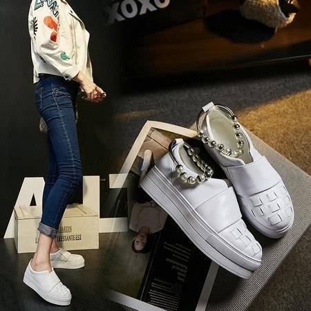2016秋季时尚潮流韩版女鞋全皮单鞋女厚底串珠板鞋
