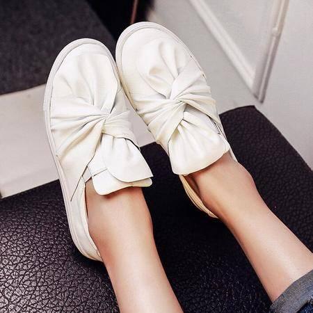 2016欧美大牌同款牛皮扭状鞋花松糕底厚底平底女单鞋真皮学生单鞋