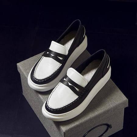 小白鞋里外全皮厚底女鞋潮2016春秋新品休闲鞋板鞋白色运动鞋
