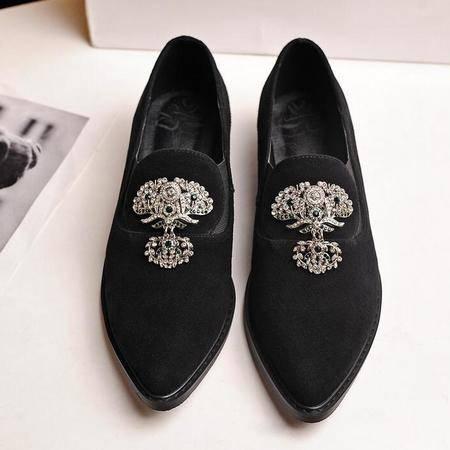 春季新款水钻羊皮女单鞋尖头真皮平底鞋英伦平跟单鞋成都女鞋