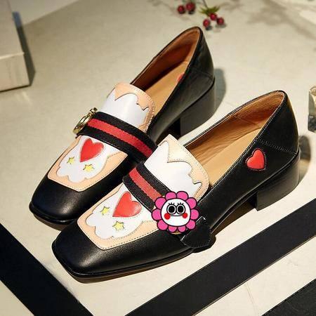 单鞋女真皮鞋秋季新品粗跟鞋高档皮质浅口马蹄跟拼色方头学生鞋
