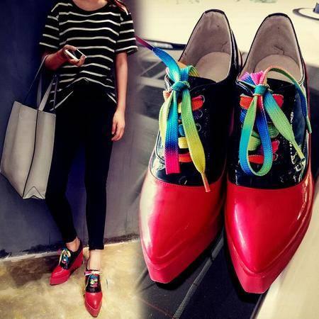 里外全皮女鞋英伦潮流尖头拼色深口内增高单鞋女厚底坡跟女单鞋