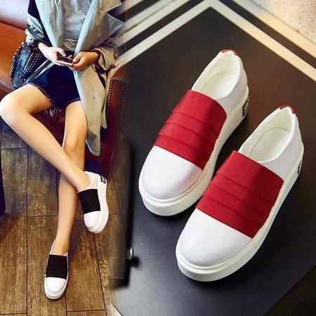 女鞋春秋季新款四季鞋韩版时尚潮流学生鞋厚底拼色松糕跟单鞋板鞋