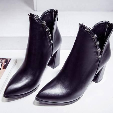 英伦秋冬季新款马丁靴尖头平底罗马靴水钻粗跟女靴子真皮女鞋