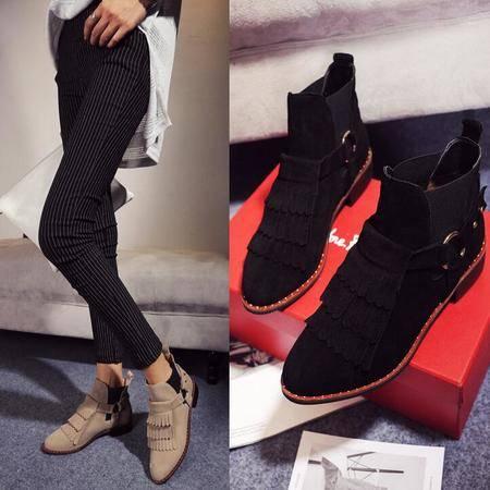 秋冬季女鞋平底马丁靴磨砂皮流苏靴时尚及裸靴英伦风真皮女靴子潮