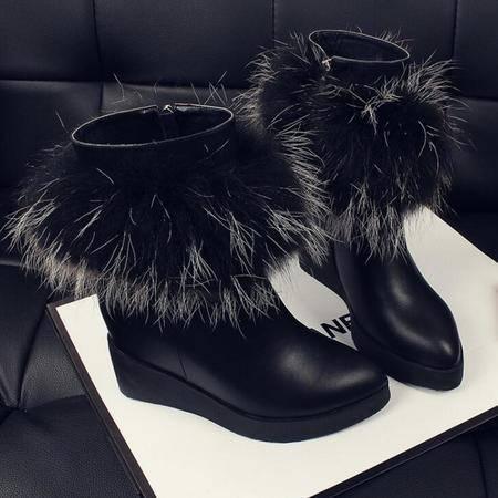 真皮欧美大牌貉子毛尖头女靴坡跟潮女鞋秋冬保暖牛皮短靴