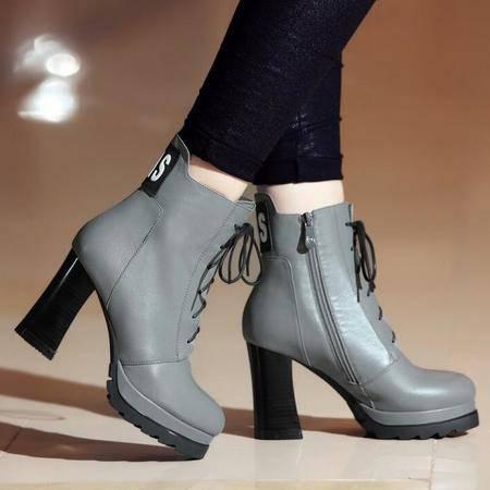 秋冬真皮前系带时尚高跟女靴子欧洲站圆头防水台粗跟马丁短靴
