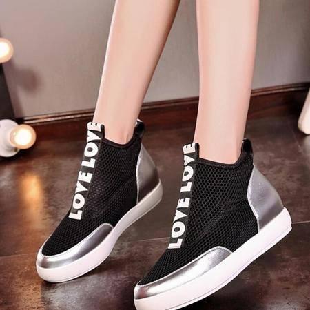真皮女靴时尚休闲鞋网面拼色平底高帮鞋欧美范儿潮流短筒靴