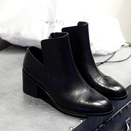 黑色小皮鞋高档皮质工作鞋时简约百搭高帮鞋真皮女靴子