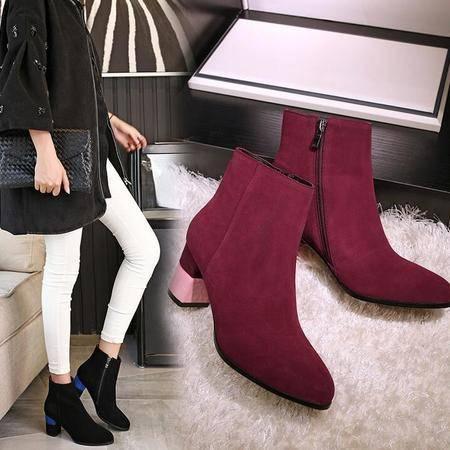 16年秋冬季新品正品女鞋磨砂皮尖头女靴拼色平底罗马靴真皮粗跟鞋