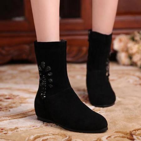 秋冬磨砂牛皮流苏靴水钻串珠平底内增高中筒靴真皮圆头女靴