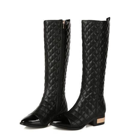 冬季新款欧美时尚格子显瘦真皮女靴粗跟中跟骑士靴防滑耐磨高筒靴