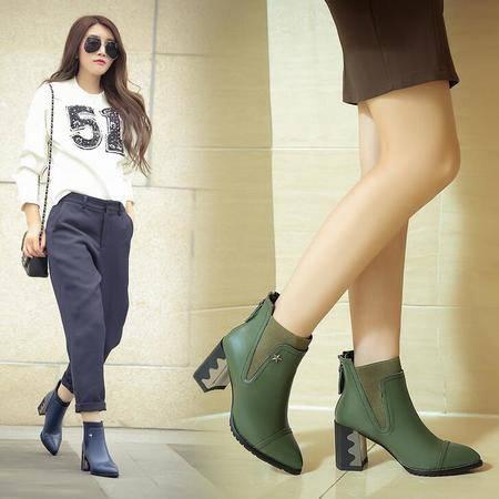 LO走秀女靴欧美时尚潮流粗跟真皮女靴金属异形跟尖头短筒靴骑士靴