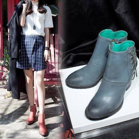 真皮女靴交叉绑带平底粗跟马丁靴时尚大牌擦色时装靴