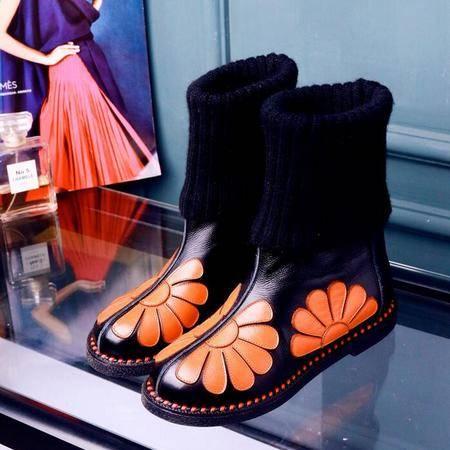 秋冬新款真皮复古花朵内增高两穿毛线桶马丁靴欧美个性款真皮女靴
