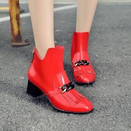 英伦风真皮OL职业工作鞋时尚大牌方头平底短靴金属粗跟流苏靴
