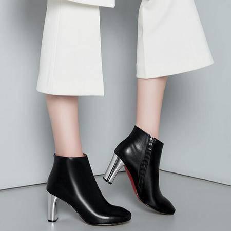 秋冬季新款电镀跟女鞋英伦大牌同款短筒靴时尚简约真皮女靴子