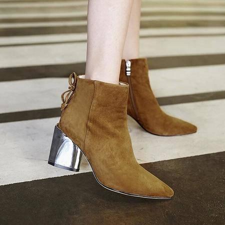秋款英伦大牌真皮女靴潮流时装靴蝴蝶结电镀跟平底罗马靴马丁靴