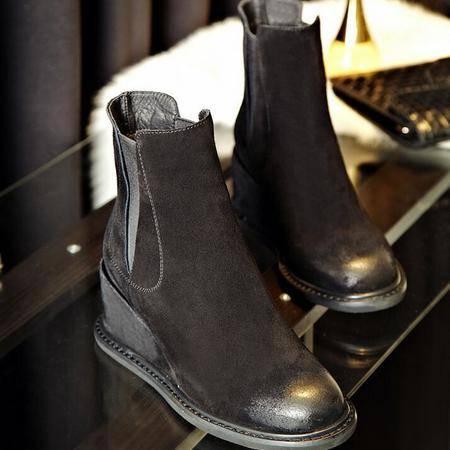 英伦风时尚大牌真皮女靴复古擦色短筒靴平底坡跟马丁靴懒人靴