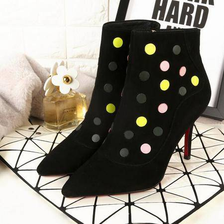 欧美风潮流时装靴时尚到死同款马丁靴亮片尖头平底短靴细高跟女靴